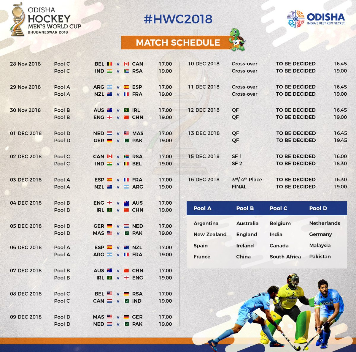 Know The Complete Schedule Of Men S Hockey World Cup 2018