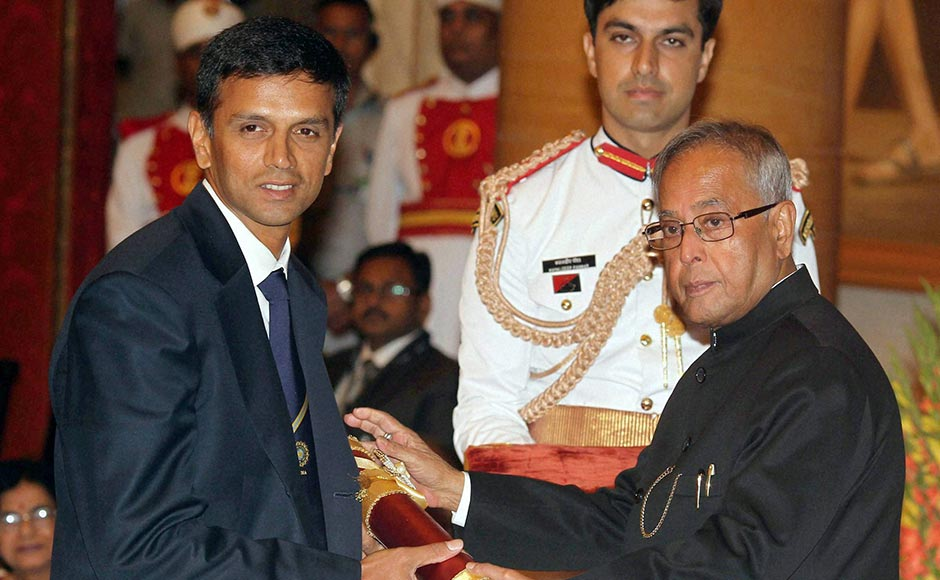 Rahul Dravid receiving Padma Bhushan