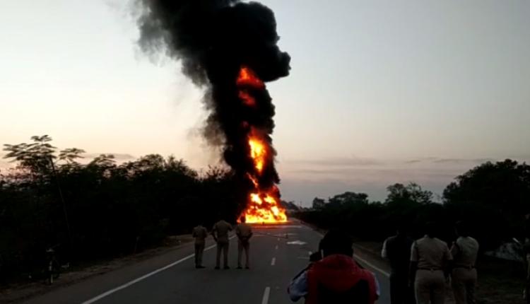 Oil tanker catches fire in Odisha