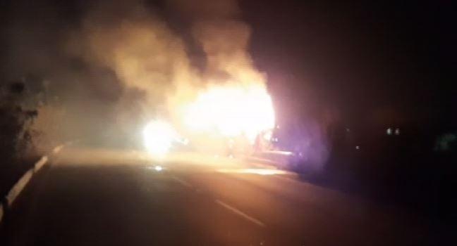 running truck catches fire