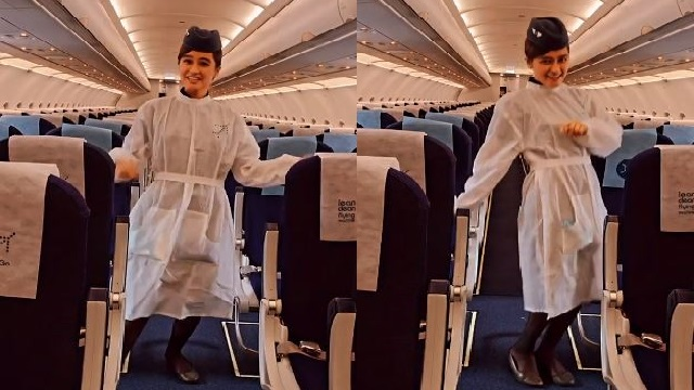 air hostess dancing to manike mage hithe video